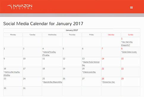 Social Media Calendar 2017