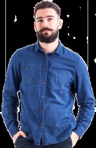 bearded man blue shirt image