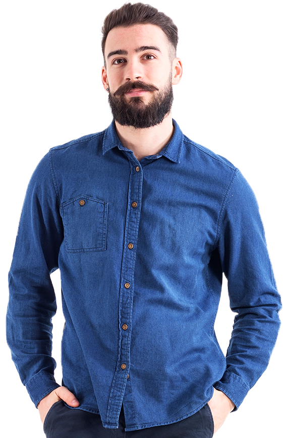 bearded man blue shirt