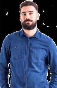 bearded man blue shirt