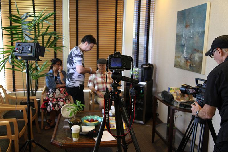 Behind the scenes testimonial video prep