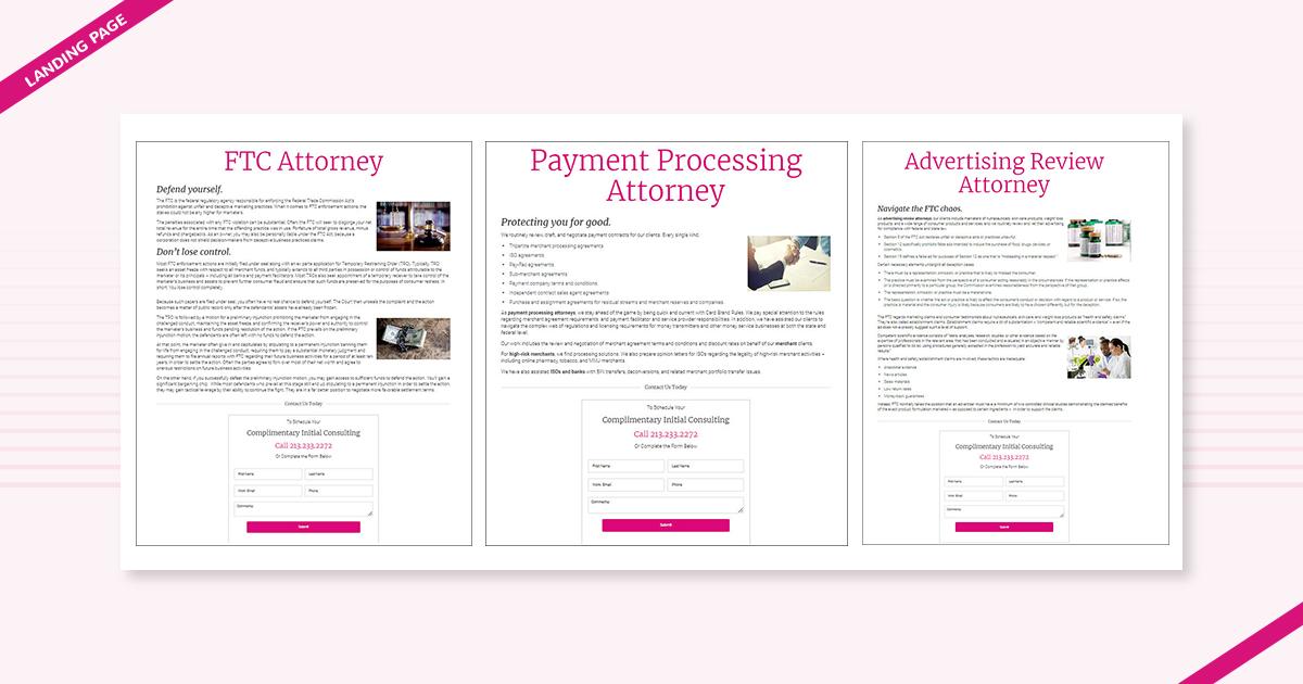 Landing page TFM Law Navazon Digital los angeles marketing agency