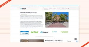 Nulife Recovery Landing Page Design