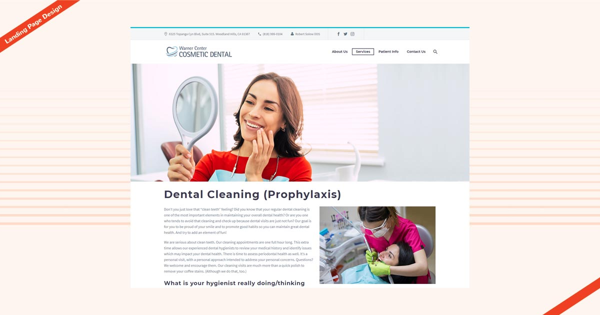Warner Cosmetic Dental Landing Page