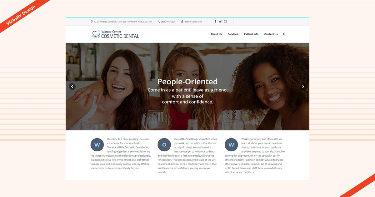 Warner cosmetic dental website design