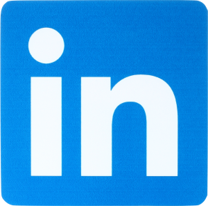 blue linkedin logo in the rounded square shape