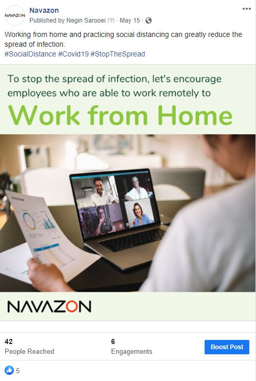 Social media post example by Navazon Digital that shows man on having virtual meeting at his desk. Title of the post says