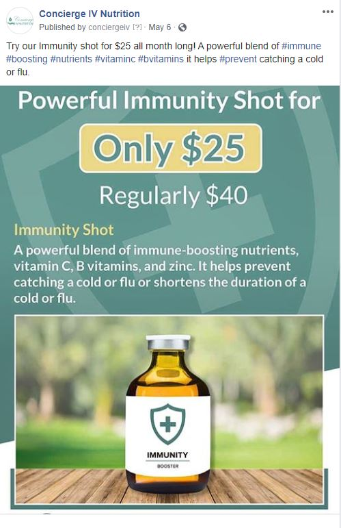 special offer info-graphic made by navazon digital for powerdul immunity shot, reduced prices are listed on the graphic