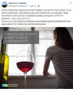 "woman looking at out her window with glasses of wine next to her as article reads ""struggling to stay socially distant during corona virus?"""