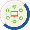 social media strategy green icon with social media logos in a circle