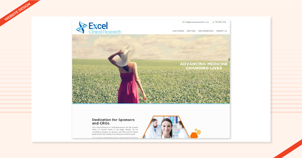 Website design done by Navazon for their client Excel Clinical Research.