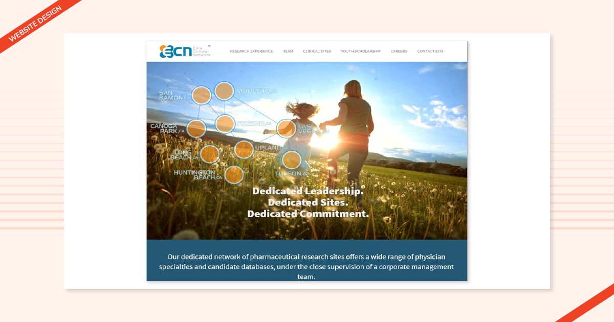 Website design done by Navazon for their client Elite Clinical Network.