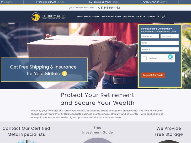 Priority Gold website