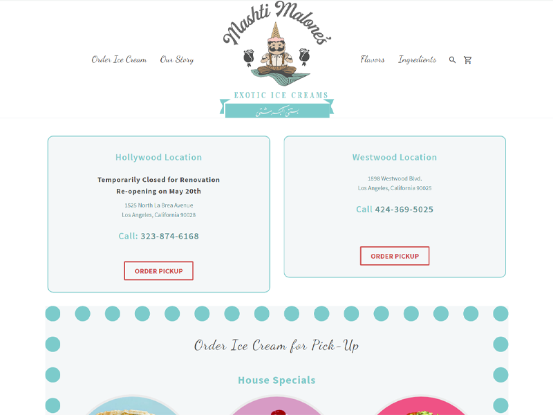 Mashti Malones Ice Cream website.